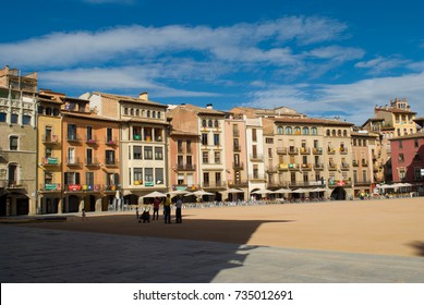 VIC,SPAIN  - SEPTEMBER 03, 2017: Numerous independence flags flood the balconies in the main square of Vic, catalonia, Spain on September 03, 2017