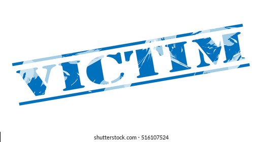 victim blue stamp on white background