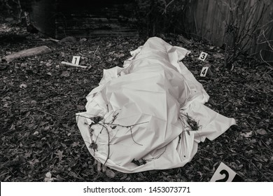 Victim of a violent crime under a sheet with fingers sticking in a rural yard. With evidence markers, in black and white.