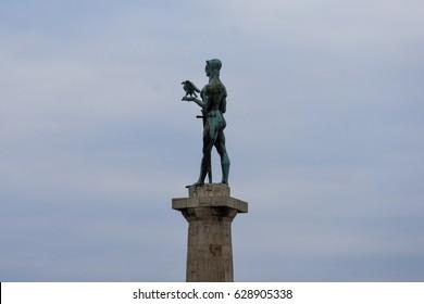 The Victor (Pobednik) a monument in the Upper Town of the Belgrade Fortress. Kalemegdan Park. Belgrade, Serbia