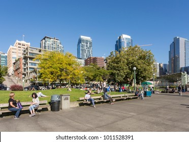 Victor Steinbrueck Park on a sunny day and Downtown urban buildings in background, Belltown District, Seattle, Washington, USA North America 20 September 2017