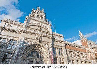 Victoria and Albert Museum facade at London, England