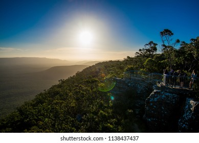 Victoria / Australia - Feb 2017: Panorama of Grampians National park on sunset. Adventure in the mountain area in good sunny day. Trakking and hiking in Victoria state.