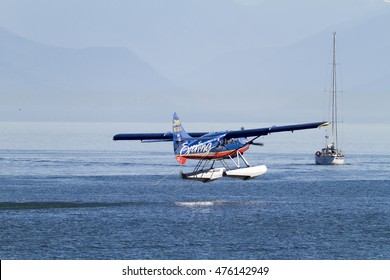 VICTORIA, BC, CANADA - AUG 11 2016. Float-plane traffic in the inner harbor. This transportation is vital and very frequent between Vitoria and Vancouver, also the flight is very pictures.