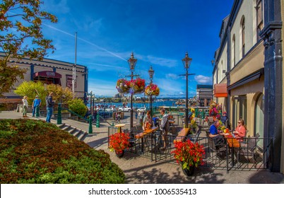 VICTORIA, BC CANADA - AUG 24 2017:   The Bastion Square Market in the inner city of Victoria in full summer glow.