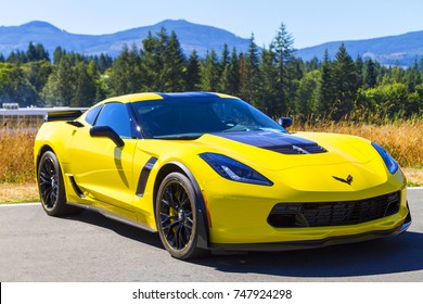 Victoria BC Canada Aug 27 2017 :  Exotic  motorcars are on display at the Annual Vancouver Island Motor Gathering. This Chevrolet Corvette is fully restored for the line up.
