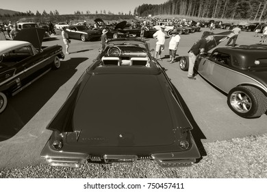 Victoria BC Canada Aug 27 2017 :  Exotic vintage motorcars are on display at the Annual Vancouver Island Motor Gathering. This  Eldorado Convertable is  fully restored for the line up.