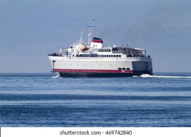 VICTORIA, BC, CANADA - JULY 26 2016: Travel between Seattle and Victoria, BC is fast and convenient aboard  passenger ferry Coho. Victoria is one of the tourist destination