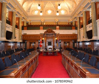 VICTORIA BC CANADA JUNE 15 2015: Interior of the Parliament Buildings, home to the Legislative Assembly of British Columbia where elected representatives  called Members of the Legislative Assembly