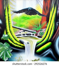 VICTORIA BC CANADA JUNE 19 2015: Fist nation mural art in Vancouver island is inhabited by First Nation Canadian aboriginal peoples who are affiliated in tribe  include Haida, Salish, and Nisga'a.