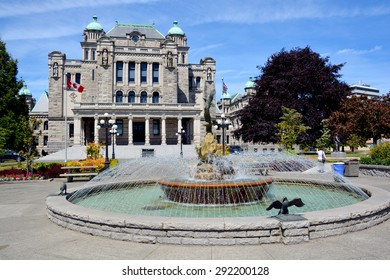 VICTORIA, BC, CANADA, JUNE 23 2015 The British Columbia Parliament Buildings are home to the Legislative Assembly of British Columbia.