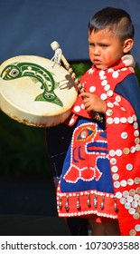 VICTORIA BC CANADA JUNE 24 2015: Unidentified Native Indian child in traditional costume. First Nations in BC constitute a large number of First Nations governments and peoples in the province of BC