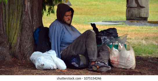 VICTORIA BC CANADA JUNE 24 2015: Homeless. Over 30 members of downtown Victoria's homeless community have reportedly died between August and November 2012. By pneumonia. Suicides. Drug overdoses.