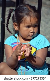 VICTORIA BC CANADA JUNE 24 2015: Unidentified Native Indian girl. First Nations in BC constitute a large number of First Nations governments and peoples in the province of BC