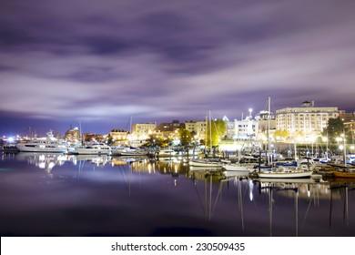 VICTORIA, BC, CANADA- November 2, 2014: Night scene of the harbour in downtown victoria, british columbia, canada