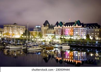 VICTORIA, BC, CANADA- November 2, 2014: Night scene of the historic building (empress hotel) in downtown victoria, british columbia, canada