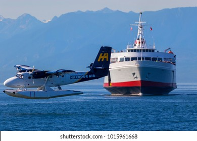 Victoria, BC, Canada - Sept 11 2017: Travel between Seattle and Victoria, BC is fast and convenient aboard passenger ferry Coho. Victoria is one of the tourist destination