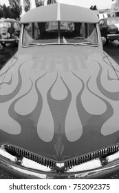 Victoria, B.C. Canada - Sept 9, 2017: Exotic vintage classic motorcar on display on a rainy day at the Esquimalt Celebration of Lights Vintage Car Show.