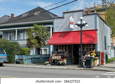 VICTORIA, BC - CIRCA APRIL 2014 - Government Street corner store. Small local business operated grocery store in downtown Victoria.