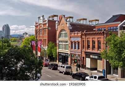 VICTORIA, BC - CIRCA MAY 2014 - Lower Yates Street. Yates Street is a landmark in Victoria's Old Town District.