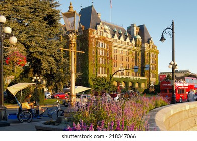 VICTORIA, BC - CIRCA SEPTEMBER 2014 - The Fairmont Empress Hotel in Victoria, British Columbia is located in the city centre and across from the Inner Harbour.