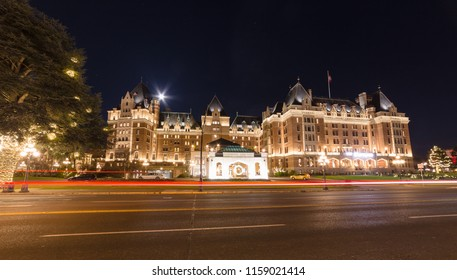 VICTORIA, BC. JANUARY, 2018: Night view of Fairmont Empress at the harbour of Victoria, BC