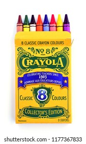 Victoria, BC/CANADA - Sep 2018: Box of Crayola Crayons Collector's Edition Classic 8 colours in vertical format from overhead on white background.  Illustrative Editorial.