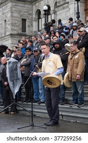 VICTORIA, BRITISH COLUMBIA - APR 12, 2016 - First Nation gather on the steps of the BC parliment building, Victoria, BC, Canada