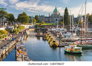 Victoria, British Columbia, Canada - 11 September 2017: Victoria Harbour and British Columbia Parliament Buildings at sunset