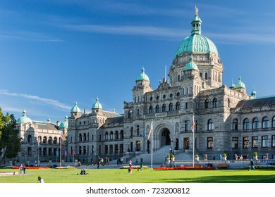 Victoria, British Columbia, Canada - 11 September 2017: British Columbia Parliament Buildings. The Parliament is home to the Legislative Assembly of British Columbia.