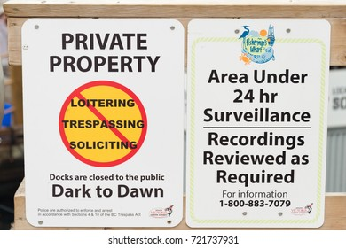 Victoria, British Columbia, Canada - 6 September 2017: Private Property and Neighbourhood Watch Area signs