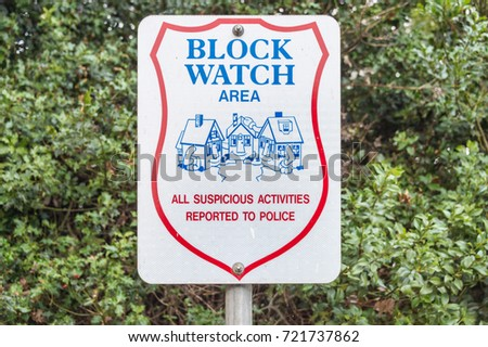 Victoria, British Columbia, Canada - 6 September 2017: Neighbourhood Watch Area sign