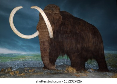 Victoria, British Columbia, Canada - August 5, 2005: Wooly Mammoth at Royal British Columbia Museum