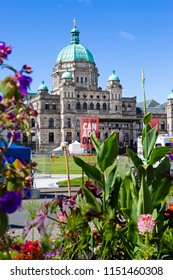Victoria, British Columbia / Canada - July 1, 2018: Preparations for the Canada Day 2018 in front of the Parliament. A stage in front of the building.