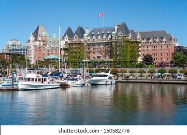 VICTORIA, BRITISH COLUMBIA, CANADA - JULY 7: The Fairmont Empress Hotel facade on July 7, 2013 in Victoria, British Columbia, Canada. It is among the oldest and most prominent hotel in Victoria.
