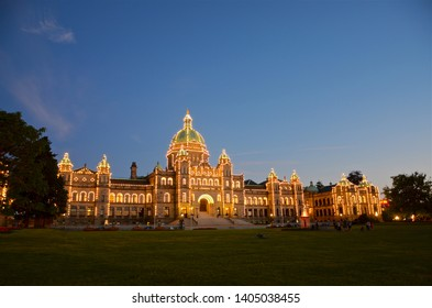 Victoria, British Columbia, Canada - june 17, 2018 The night lighting of the British Columbia Parliament building underlines its amazing historical architecture