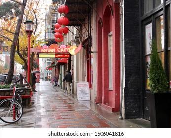 Victoria, British Columbia / Canada - November 14, 2017: Victoria's Chinatown is seen on rainy day.