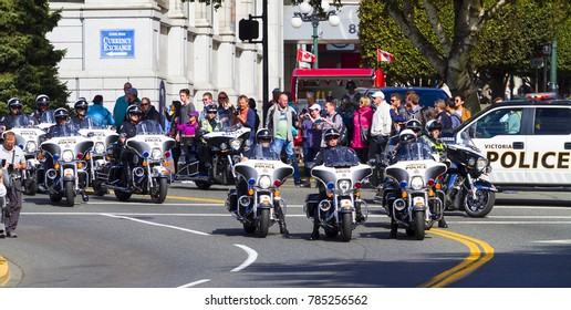 Victoria  British Columbia  Canada Sept 24 2017:The British Columbia Law Enforcement Memorial Service annual march in full uniform with the Bike Squad.