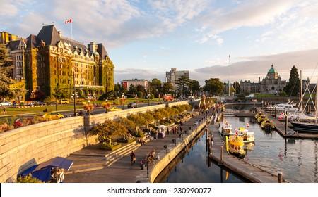 Victoria, British Columbia, CANADA - September 17, 2011 : Beautiful view of Inner Harbour in Victoria, British Columbia, CANADA