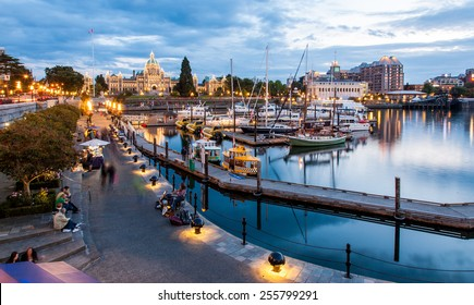 Victoria, British Columbia, CANADA - September 17, 2011 : Night view of Inner Harbour in Victoria, British Columbia, CANADA