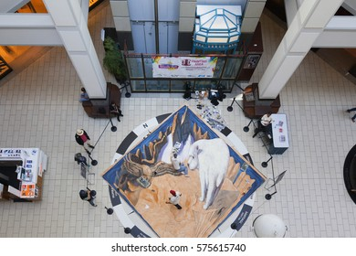VICTORIA CANADA 25 SEPT 2016:Inside view of The Bay Center Arcade, shopping galleries in  downtown Victoria. Popular shopping destination as well open art exhibition   for locals and visitors.