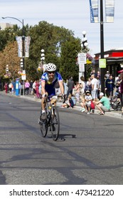 VICTORIA CANADA  AUG 21 2016:  Cyclists-all age and gender-compete in the Tour DE Victoria  140, 90, 45 km routes with world-class cycling routes and breathtaking sceneries. Public event.