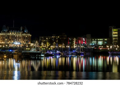 Victoria  Canada  December 2 2017: The inner  harbor  is decorated for Christmas.