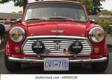 VICTORIA CANADA  - JUNE 13, 2016: A Mini Cooper vintage car on display. The Mini is made by BMC and its successors from 1959 until 2000. The original is considered a British icon of the 1960s