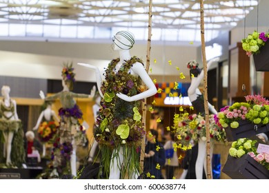 Victoria Canada Mar 9 2017: Fleurs de Villes, premiere Floral Mannequin Series the first stop on the event's inaugural cross-Canada tour. First of its kind to combine fashion and flowers.