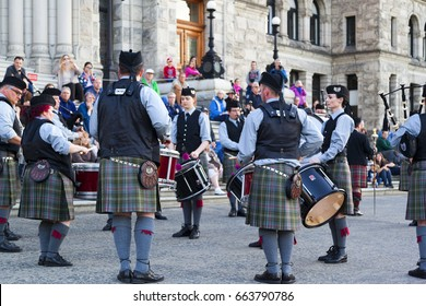 Victoria Canada May 20 2017: Victoria's Highland Games and Celtic Festival kicks off with a Band Parade. This is an annual festival and brings young and old for the next  3 days.