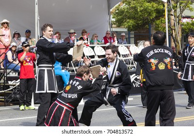 Victoria  Canada May 22,2017:  Kuk Sool Won Kharate association on Victoria Day Parade. This is Victoria's largest parade and attracting well over 100,000 people from Canada and USA..