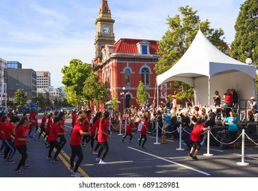 Victoria  Canada May 22,2017: Stages Performing Art School in Victoria Day Parade along Douglas Street. This is Victoria's largest parade and attracting well over 100,000 people from Canada and USA..