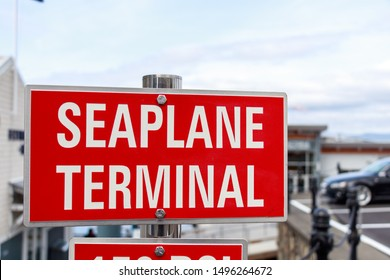 VICTORIA, CANADA - May 3, 2019: Seaplane Terminal sign in-front of Victoria Harbor Airport in downtown Victoria, BC.