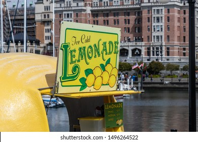 VICTORIA, CANADA - May 4, 2019: Lemonade Stand, waterfront in downtown Victoria, BC with the famous Fairmont Empress seen behind.